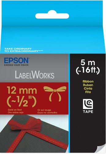 Epson LabelWorks Ribbon Tape Cartridge ~ 1/2-Inch Gold on Red (LC-4RKK5)