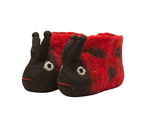 Invisible World 100% Wool Felt Hand-Made Nepalese Baby Booties Ladybug - Baby Size