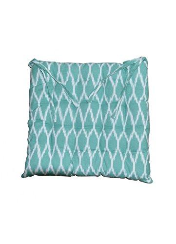 HomeMaison Galette de Chaise Imprimée Bicolore, Coton, Turquoise, 38x38 cm