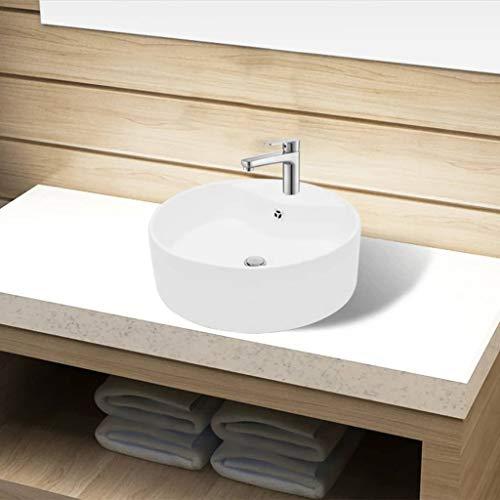Festnight Keramik Waschbecken Rund ? 465 mm   Aufsatzwaschbecken mit Hahnloch   Handwaschbecken Waschschale Wei? 465 x 155 mm (? x H)
