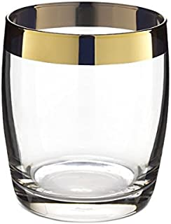DANUTA DOUBLE ROCKS GLASS {Gold Trim / 15oz (450ml) / 4 Pack}