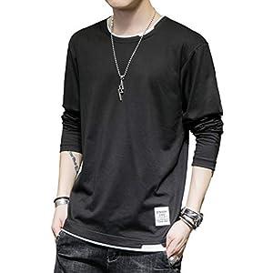 2020新品 tシャツ メンズ 長袖 秋服 無地 カジュアル おおきいサイズ ゆったりおしゃれ 吸汗 柔らかい 人気 快適 春 秋 (ブラック, 3XL)