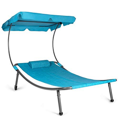 Park Alley Sonnenliege mit Dach, Relaxliege mit Rollen in blau Melange für 1 Person, Gartenliege mit Sonnendach und Kissen, 202x119x160 cm, Metall, Kunststoff, Einzelliege