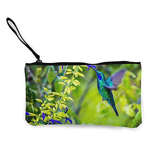 Kolibri-Blumen-Leinwand-Geldbörse, Reise-Make-up-Tasche Geldbeutel Bleistift-Stift-Etui Geldbörse Tasche Po