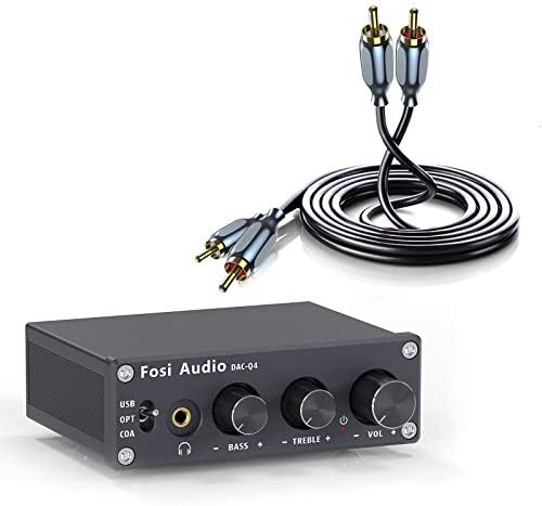 DAC Q4 Bundle with RCA Cable Fosi Audio Mini Stereo Gaming DAC Headphone Amplifier with RCA product image
