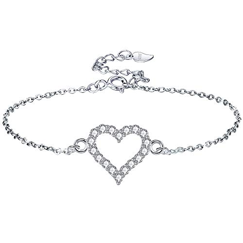 Lydreewam Love Heart Bracelet for Women with 3A Cubic Zirconia 925 Sterling Silver Bracelet Packed in Jewelry Box, Adjustable 16+3 cm