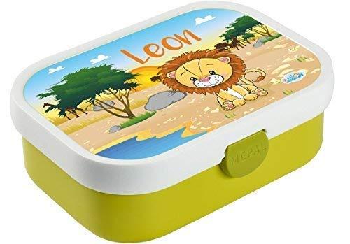 *Mein Zwergenland Brotdose Mepal Campus mit Bento Box und Gabel mit eigenem Namen Löwe (Lime)*
