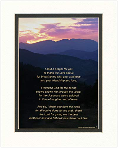 Mother-in-Law and Father-in-law Gift with Thank You Prayer for your Father in Law and Mother in Law Poem. Mt Sunset Photo, 8x10 Double Matted. In-Laws Christmas Gifts. Wedding. Anniversary.