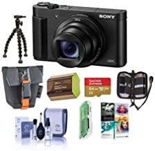 Sony Cyber-Shot DSC-HX99 18.2MP Compact Digital Camera with ZEISS 24-720mm Zoom Lens, Black - Bundle with Camera Case, 64GB MicroSDHC Card, Spare Battery, Cleaning Kit, PC Software Package, and More