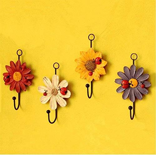 3 piezas perchas de mariquita gancho decorativo de hierro para instalación en la pared ganchos de armario mariquita y margarita gancho de pared de resina arte flores decorativas