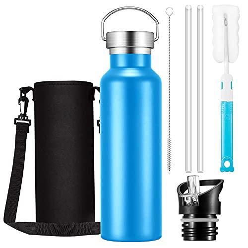 OMORC Botella Agua Acero Inoxidable, 600ML Aislada al Vacío de Conserva Frío Doble Pared, Resistencia al Rayado, sin BPA Botella Agua Deporte, para Gimnasio, Oficina, Deportes, Fácil de Limpiar