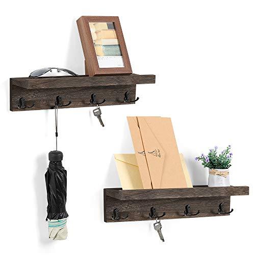 Organizador de madera con 4 ganchos para colgar en la pared, para entrada, pasillo, dormitorio, sala de estar, juego de 2