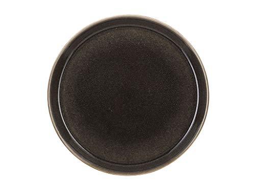 BITZ Teller, Speiseteller, Essteller aus Steinzeug, 27 cm im Durchmesser, grau/grau