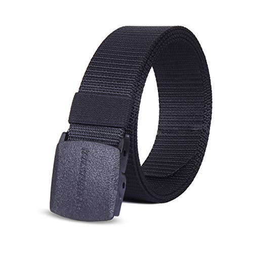 Winchester Nylon Canvas Breathable Military Tactical Men Waist Belt With Plastic Buckle, Yankee One Size Fits All, Black