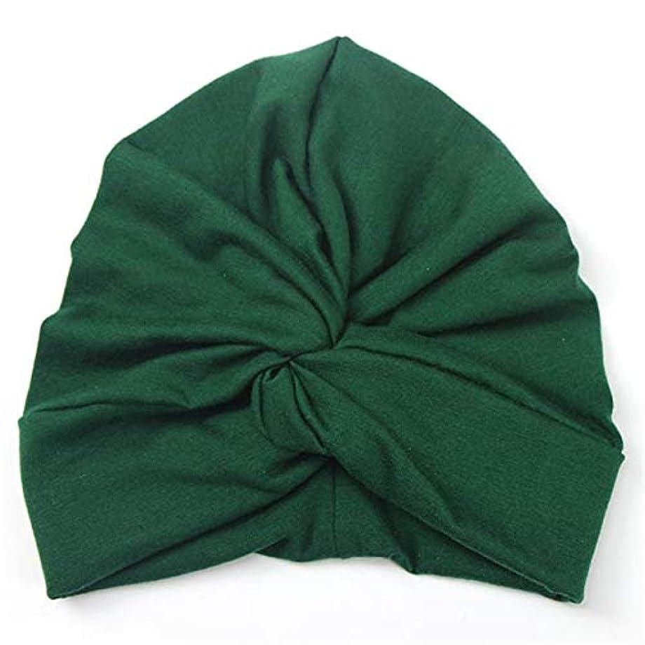 倫理的急ぐビルマフラワーヘアピンFlowerHairpin YHMベイビーハットコットンソフトターバンノットサマーボヘミアンキッズガールズ新生児キャップ(イエロー) (色 : Green)