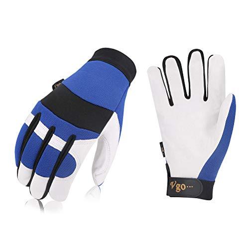 Vgo 3 Paare Arbeitshandschuhe, Fahrer, Lager, Handwerk und Mechanik Handschuhe, Palmen aus Ziegenleder(9/L, Blau, GA7620)