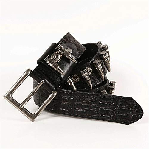 WFDA Punk Metal Jeans Hole Belt Accesorios de incrustación de Bala de Metal Hebilla de Pasador Cinturón Hombres y Mujeres Cinturón de Cuero Cinturón Cinturón Punk Unisex Cinturón para Mujer/Hombre