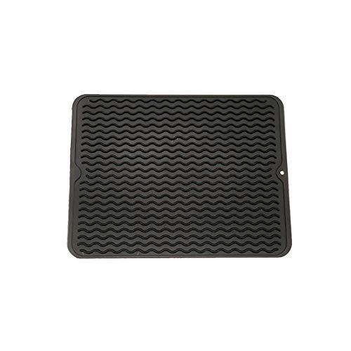 Fablcrew 1Pcs Tapis de Séchage Vaisselle Silicone Antidérapant Résistant à la Chaleur 40 * 30CM Noir