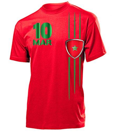 Marokko Fanshirt Fan Shirt Tshirt Fanartikel Artikel Streifen 5990 Fussball Männer Herren T-Shirts Rot M