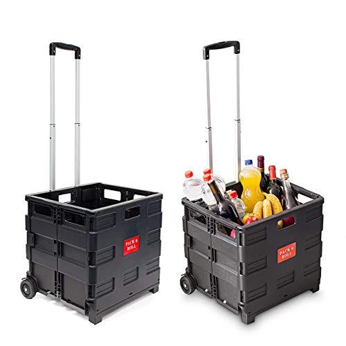 2 x Einkaufstrolley, Klappbar, Einkaufsroller bis 35 kg, Verstellbarer Griff, Mit Rollen, HBT: 100 x 42 x 37 cm, schwarz