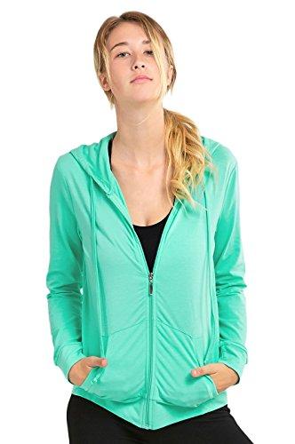 Teejoy Women's Thin Cotton Zip Up Hoodie Jacket