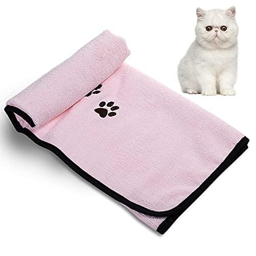 LALFPET Toalla de baño de microfibra absorbente para perro, gato, suave, cómoda, suministros para mascotas, 50 x 90 cm, para perros y gatos pequeños, medianos, grandes