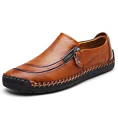 gracosy Slip-On Shoe,Men's Leather Hand Stitching Zipper Non-Slip Casual Walking Sneaker Loafer Boat Shoe Brown 10 M US