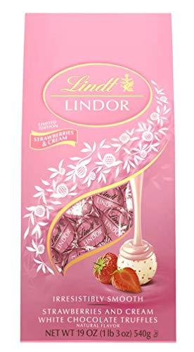 Lindt, White Chocolate Strawberries and Cream LINDOR Truffles (40 Pieces), 17oz