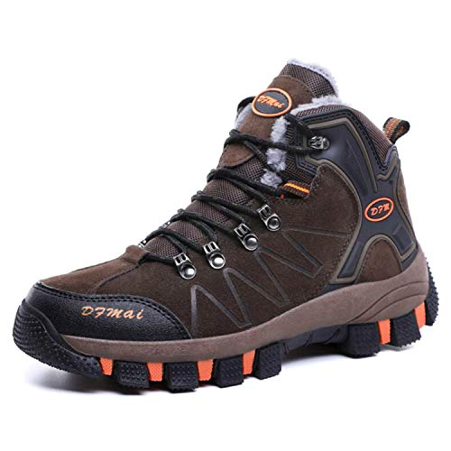 Flow.month Herren Vent Wanderschuh Herren Knöchelhohe Wanderschuhe Outdoor Leichte Schuhe Backpacking Trekking Trails (46 EU,Plus Velvet-Brown)