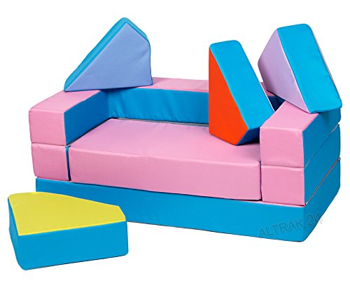 Kindersofa Schaumstoff Spielsofa mit Bettfunktion 4in1 Matratze Spieltisch Puzzle, Sofa Spielzeug (Rosa)