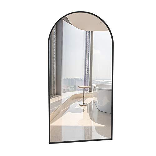 YXW 60×90cm Espejo de Pared Arco Moderno de Metal, Espejo de Cuerpo Entero de Oro Negro, para Baño Sala de Estar Entrada Probador Dormitorio (40×60cm)