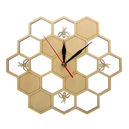 Cwanmh Wanduhr Biene und Wabe natürliche Holzwanduhr Sechseck Wandkunst Holzbiene Honig zeitgenössische Uhr nach Hause Wohnzimmer Dekoration 30 x 30 cm