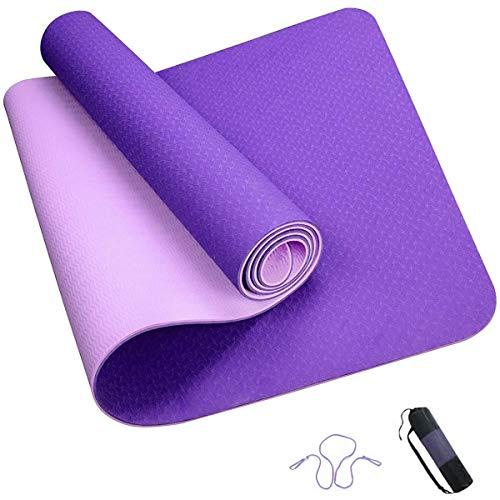 ROMIX Esterilla Yoga, Exercise Mat Eco-Friendly 6MM de Gruesor TPE con Bolsa de Transporte, Colchoneta de Yoga Antideslizante para Hombres, Mujeres, Hogar, Gimnasio, de Meditación Pilates (Violeta)