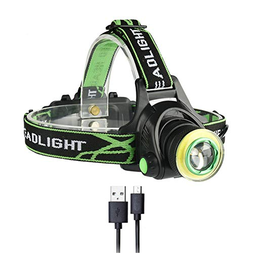 Linterna Frontal LED Recargable, Linterna Frontal Cabeza 4 Modos IPX5 Impermeable con Sensor, Ajustable Linterna de Cabeza para Correr, Acampar, Excursión, Pesca, Ciclismo