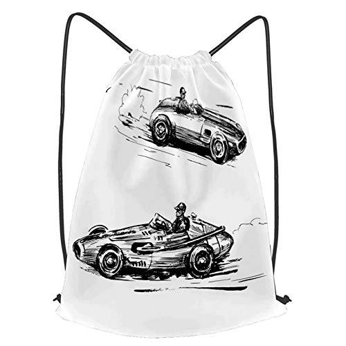 YMWEI Impermeable Bolsa de Cuerdas Saco de Gimnasio Coches de carreras de vehículos Sketch Print Deporte Mochila para Playa Viaje Natación