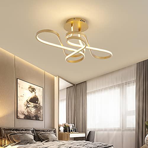Lámpara de techo LED para salón, pasillo, cocina, vestíbulo, casa de campo, lámpara de techo con forma de flores, decoración para habitación juvenil, color dorado acrílico, diseño clásico moderno
