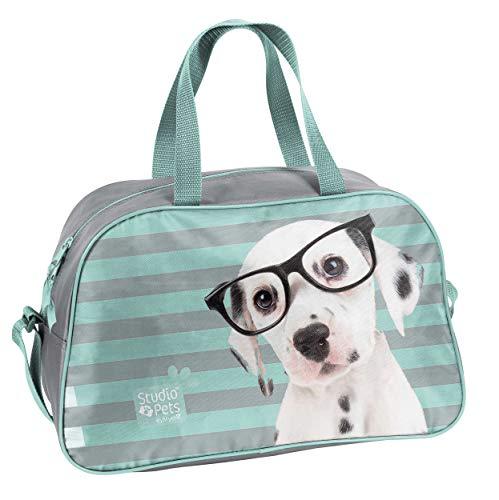 Ragusa-Trade Studio Pets - Hunde Welpen Sporttasche Reisetasche mit süßem Hundewelpen als Motiv (PEO) für Jungen und Mädchen, blau/grau, 40 x 25 x 13 cm