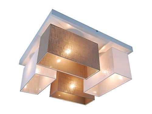 Deckenlampe - HausLeuchten JLS45WE6D - 11 Varianten, Sockel 45 x 45 cm, Massivholz, Deckenleuchte, Leuchte, Lampe, 4-flammig (WEIß/GRAU)