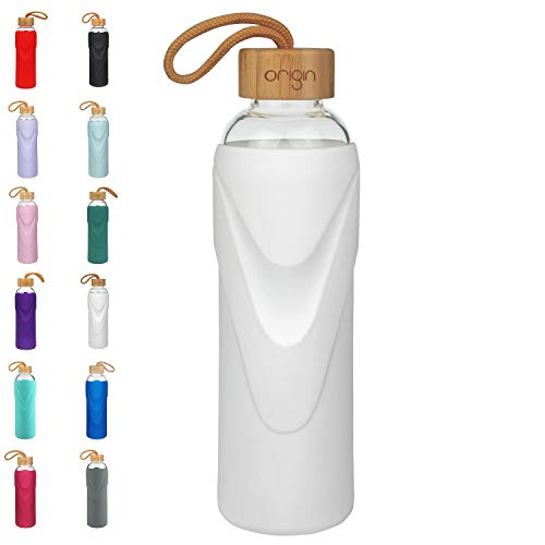 Origin - Best BPA-Free Glass Water Bottle with Protective Silicone Sleeve and Bamboo Lid - Dishwasher Safe – 22 Ounce (Bright White)