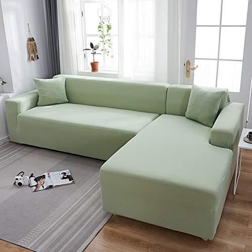 WXQY Funda de sofá elástica elástica Lisa Gris, se Puede Utilizar para sofá con Fondo en Forma de L, sofá Modular y Funda para Chaise Longue A2 2 plazas