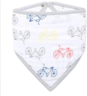 aden + anais Classic Bandana Bib; 100% Cotton Muslin; Soft Absorbent 3 Layers; Adjustable; 8.5'' X 16''; Single; Leader Of The Pack; Bicycles
