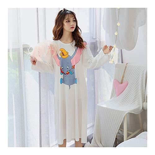 LUOSI Schlafanzug Nachthemden Cotton Nightgown-Netter Karikatur Dumbo Regenbogen-Druck Nachtkleid Herbst-Winter-O-Ansatz Nachtrock Langarm Nachthemd Nachtwäsche (Color : 1, Size : XXL)