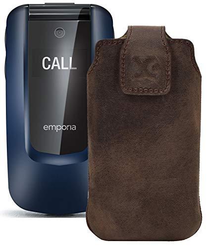 Suncase Original Tasche kompatibel mit Emporia Comfort Hülle Leder Etui Handytasche Ledertasche Schutzhülle Hülle in antik braun