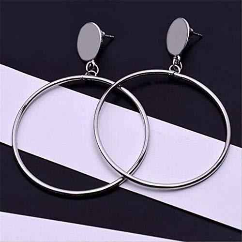Oorbel bengelen Oorbel voor vrouwen Simpleplated geometrische grote ronde oorbellen Grote holle oorbellene0336silver