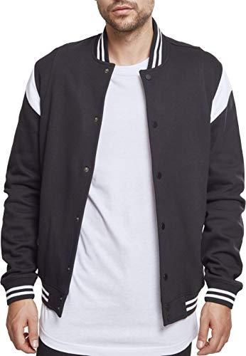 Urban Classics Herren Inset College Sweat Jacket Sweatjacke, Mehrfarbig (Blk/Wht 00050), L