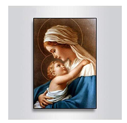 diamond painting religiosi QQYYYT Diamond disegno 5D Diamond Painting Virgin Mary Kids Christian Religione Gesù Cristo Diamante Ricamo Materna Amore Bambino Religioso 30x40cm