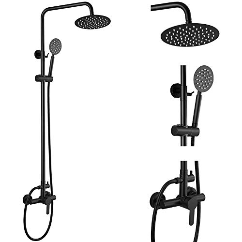 Aolemi Outdoor Shower Faucet Matte Black SUS304 Shower Fixture Combo Set Stainless Steel 8 inch Rainfall Shower Head Kit Single Handle High Pressure Hand Spray Wall Mount 2 Dual Function Single Handle