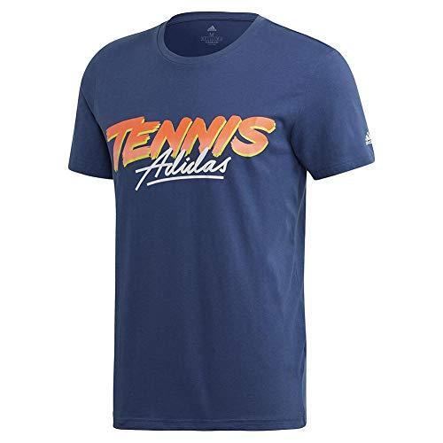 adidas Men's Tennis Script Tee Tech Indigo X-Large