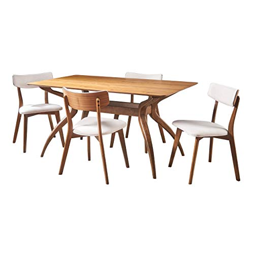 Christopher Knight Home Nissie Mid-Century Wood Dining Set with Fabric Chairs, 5-Pcs Set, Natural Walnut Finish / Light Beige