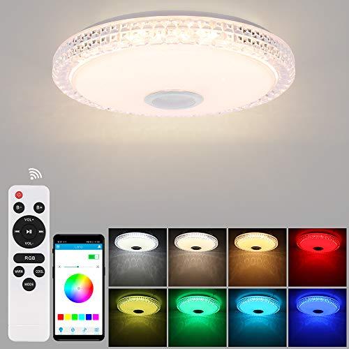 ABEDOE Lámpara De Techo Led Con Altavoz Bluetooth 72w, control de teléfono inteligente, intensidad de luz regulable, música RGB, luz circular empotrada